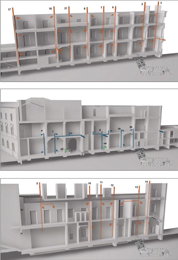 Figura 3 - Spaccato tridimensionale che evidenzia la presenza dei condotti di ventilazione - credits: Binario Lab