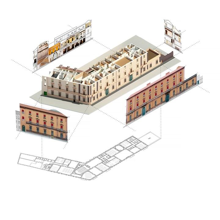 Figura 4 - Spaccato tridimensionale con l'esportazione di piante, prospetti e sezioni - credits: Binario Lab
