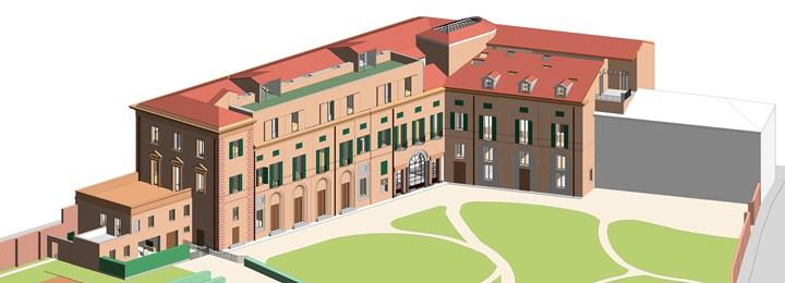 Figura 5 - Modello tridimensionale dell'intero Palazzo Gulinelli – credits: Binario Lab