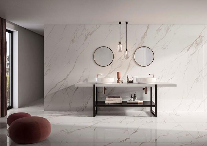 Superfici continue effetto marmo, pietra e cemento
