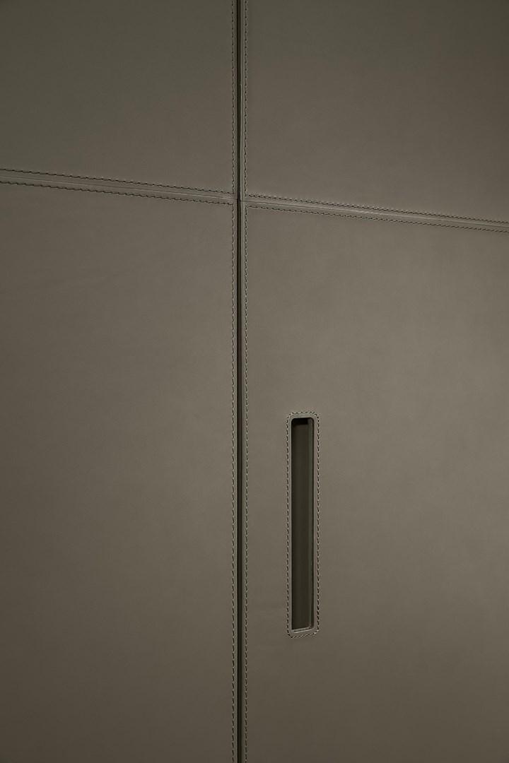 HINGED STORAGE – LEATHER DOORS
