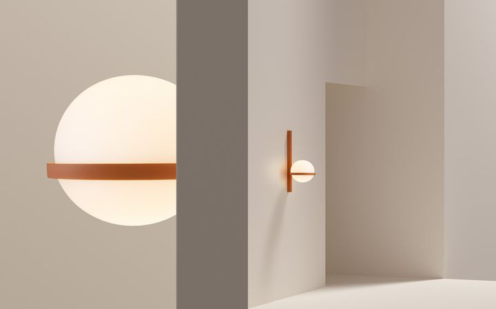 Ocre red punches through a clean and modern light beige. Palma Wall 3710 in NCS S 3050-Y60R against S 0502-Y50R
