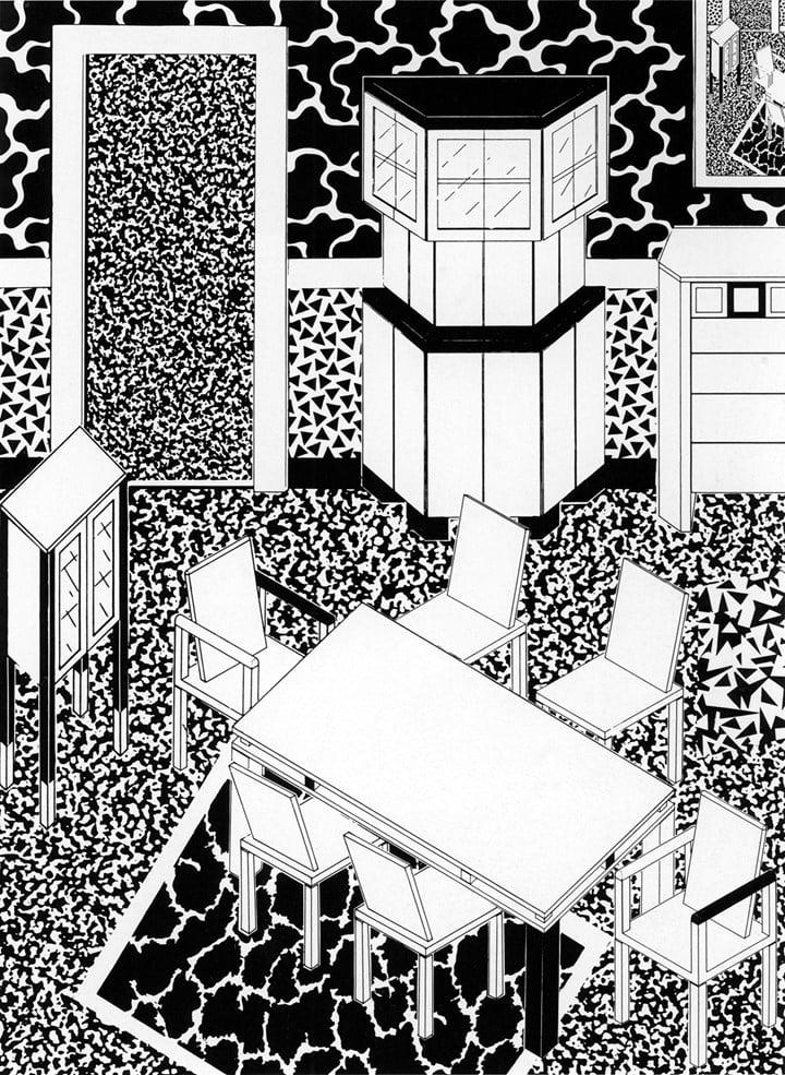 George Sowden, dessin d'un intérieur, 1983 Vitra Design Museum © George Sowden