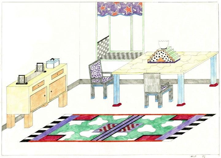Nathalie du Pasquier, dessin d'un intérieur, 1982 © Nathalie du Pasquier