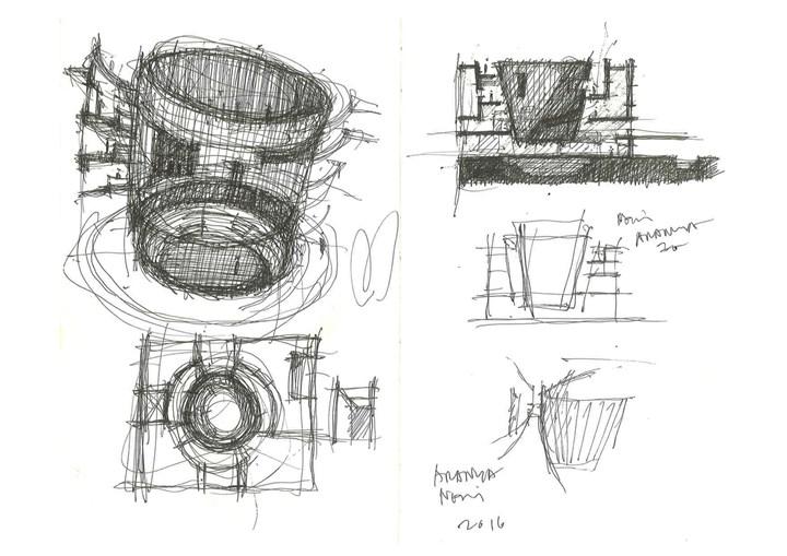 Aranya Art Center, sketches by Neri&Hu