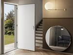 Exterior wooden safety door with concealed hinges