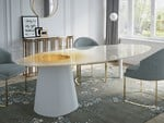 Oval Glass and Stainless Steel table