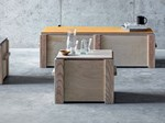 Rectangular multi-layer wood coffee table with storage space