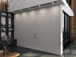 Flush-fitting steel safety door with concealed hinges