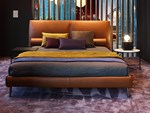 Leather double bed with upholstered headboard