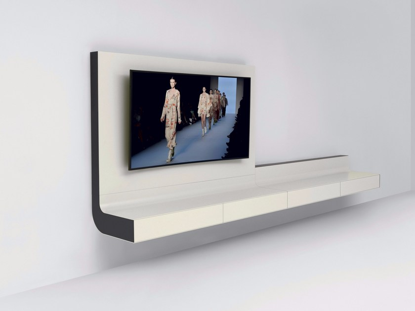 Wall-mounted glass and aluminium TV cabinet LLE | Wall-mounted TV cabinet  by