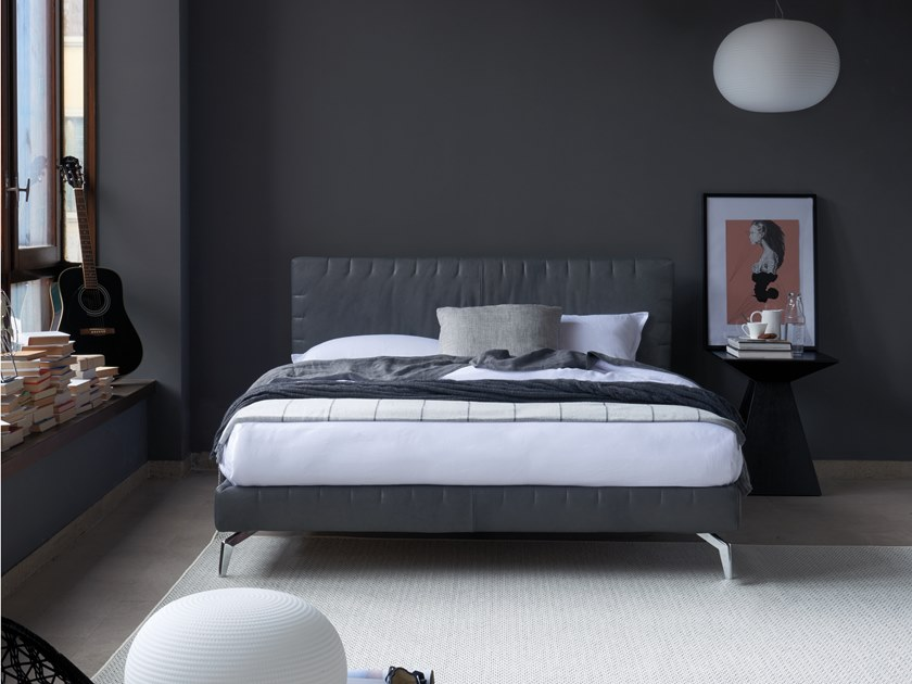Double bed with upholstered headboard MOORE by Dorelan