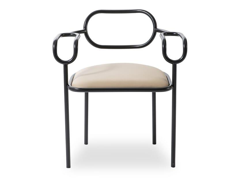 Sedia imbottita in ferro con braccioli 01 CHAIR by Cappellini