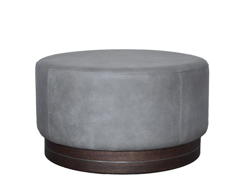 Upholstered leather pouf 0320 | Leather pouf by LA FAMIGLIA FURNITURE