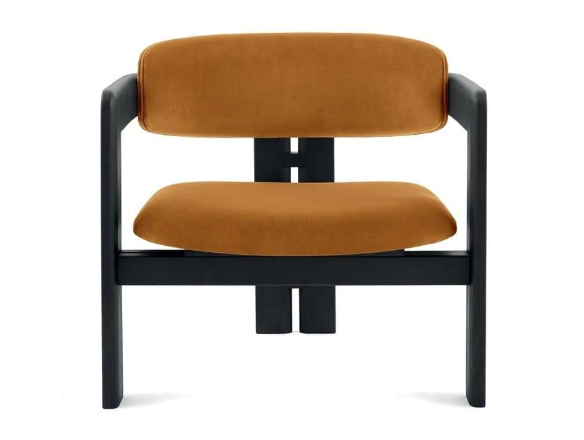 Upholstered velvet easy chair with armrests 0417 by Gallotti&Radice