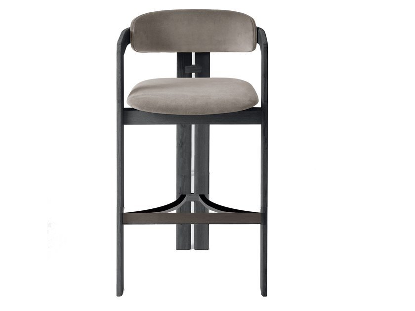 High solid wood stool with back 0419 by Gallotti&Radice