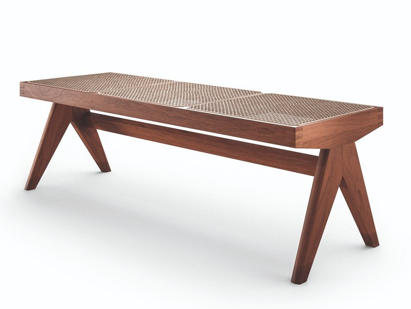 Panca in legno massello e paglia di Vienna 057 CIVIL BENCH by Cassina