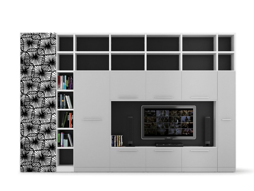 Freestanding TV wall system ALFABETO   TV wall system by De Rosso
