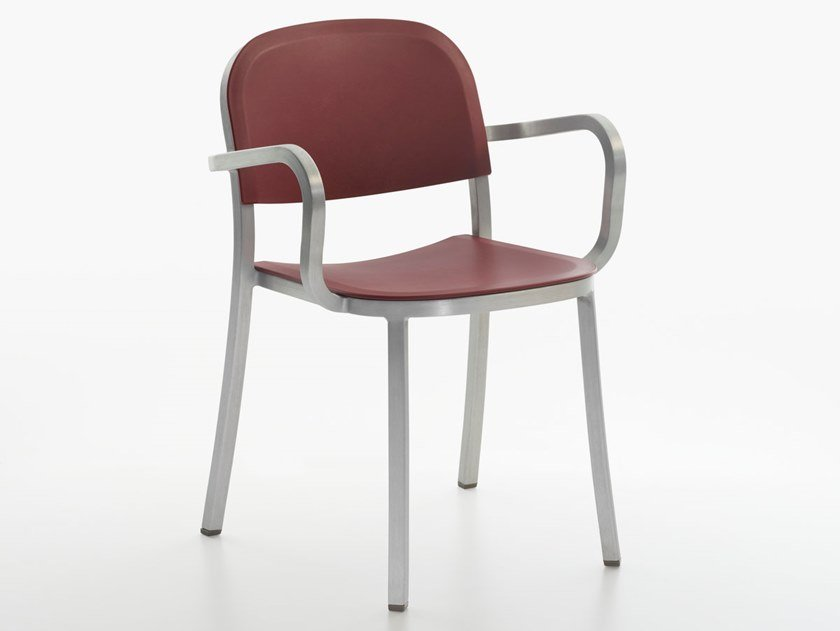 Stackable polypropylene chair with armrests 1 INCH | Polypropylene chair by Emeco
