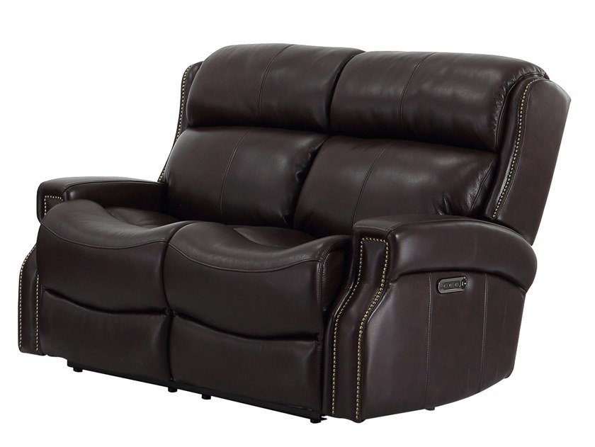 Recliner 2 seater leather sofa with electric motion