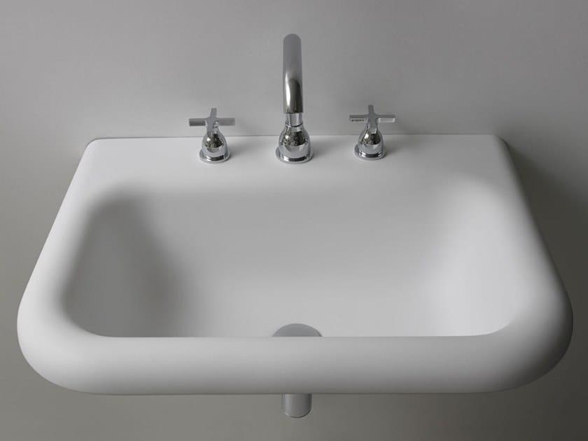 Rectangular wall-mounted Cristalplant® washbasin OTTOCENTO | Wall-mounted washbasin by Agape