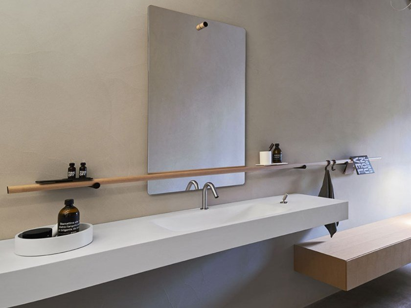 Rectangular Cristalplant® washbasin with integrated countertop OTTOCENTO 002 | Washbasin by Agape