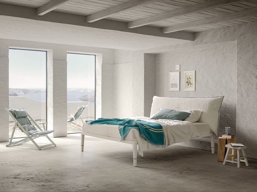 Bed with removable cover with upholstered headboard ROY GRECIA by Chaarme Letti