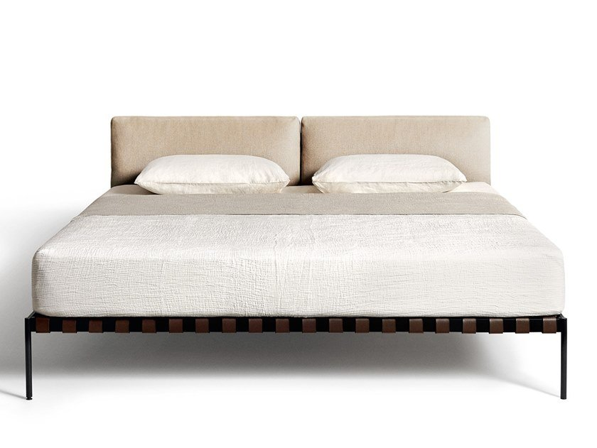Double bed with upholstered headboard ÉTIQUETTE | Bed by DE PADOVA