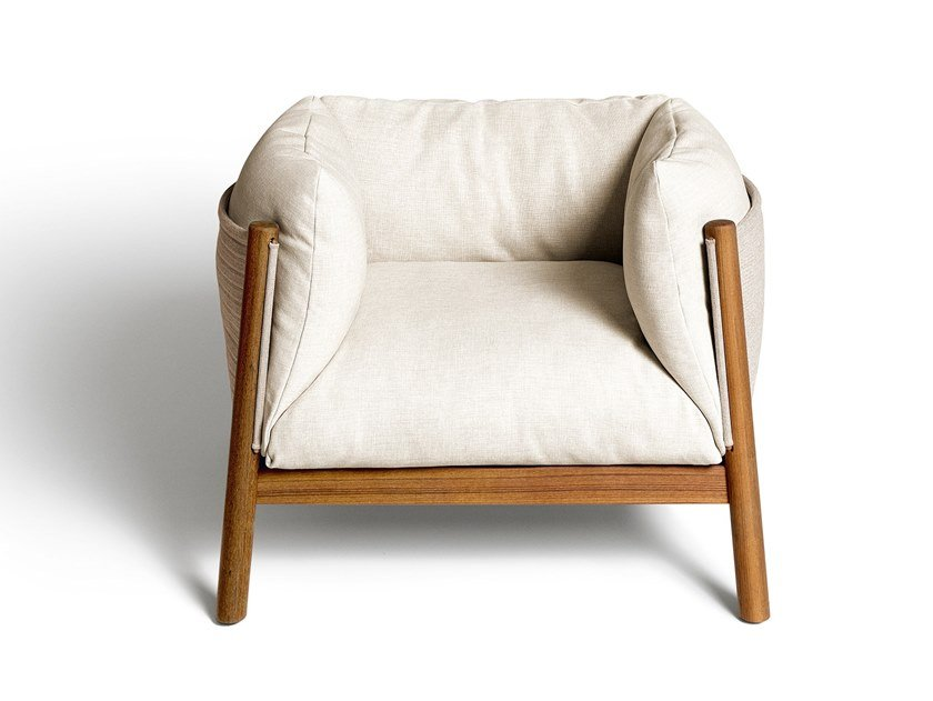 Garden armchair with removable cover with armrests YAK OUTDOOR | Garden armchair by DE PADOVA