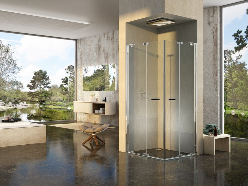 Corner shower cabin with folding door NATURA 4000 - A-EFP L/R by Duka