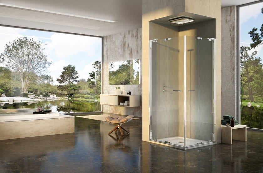 Box doccia angolare con porta a soffietto natura a efp l r