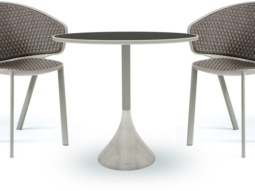 Round ceramic garden table CONCRETO | Ceramic table by Ethimo