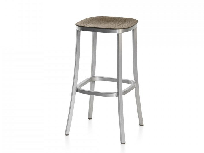 High plywood stool with footrest 1 INCH | High stool by Emeco