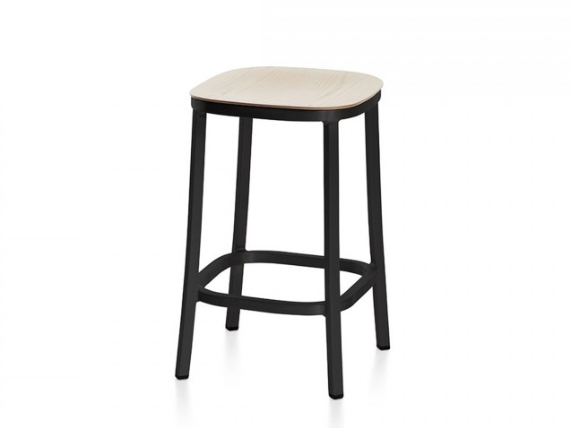 Plywood stool with footrest 1 INCH | Stool with footrest by Emeco