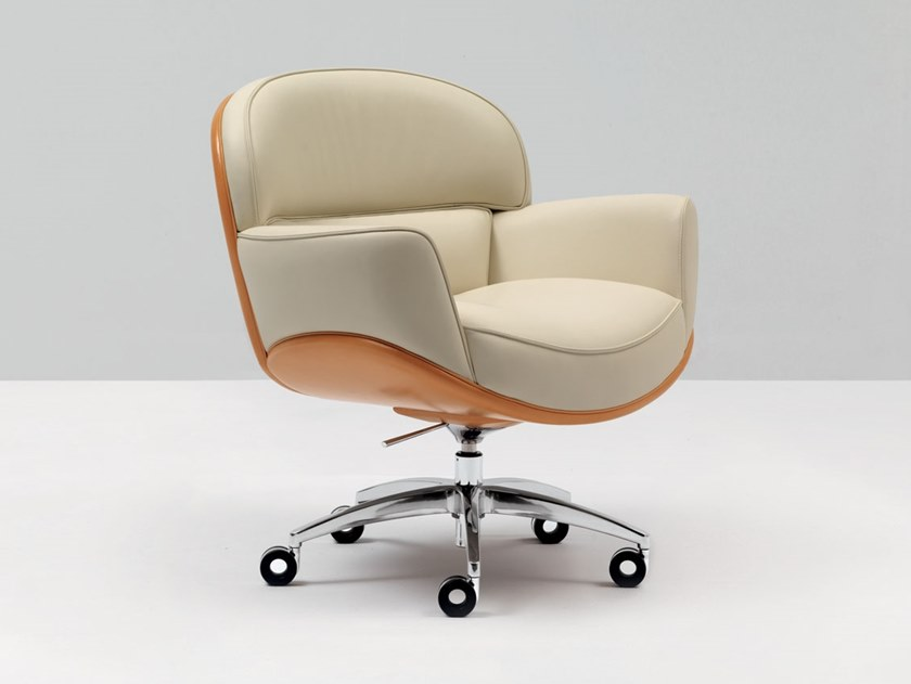 Height-adjustable leather task chair PERFECTA CONFERENCE | Task armchair by Mascheroni