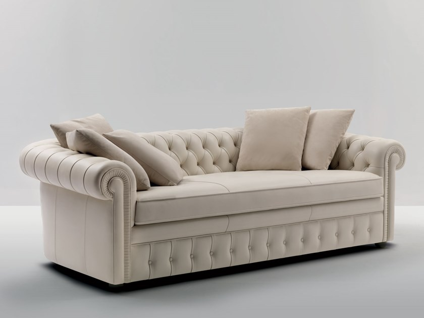 Tufted 3 seater leather sofa PICCADILLY L | 3 seater sofa by Mascheroni