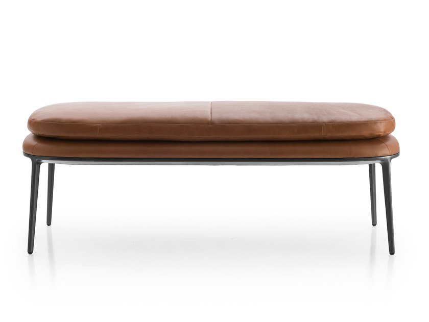 Upholstered leather bench CARATOS | Bench by Maxalto