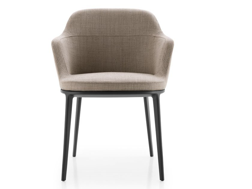 Upholstered fabric chair with armrests CARATOS | Upholstered chair by Maxalto