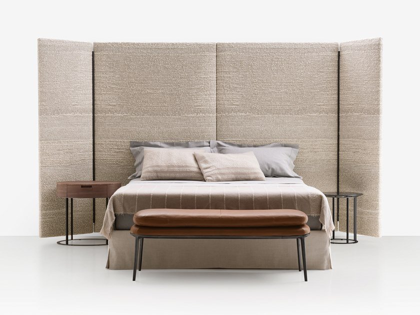 Fabric double bed with high headboard DIKE by Maxalto