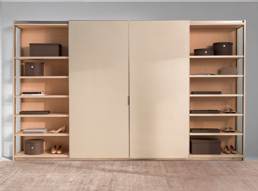 Glass and aluminium wardrobe with sliding doors ORCHIS by Ornare