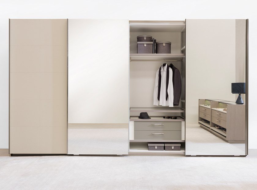 Wardrobe with sliding doors STRIPE | Wardrobe by Ornare