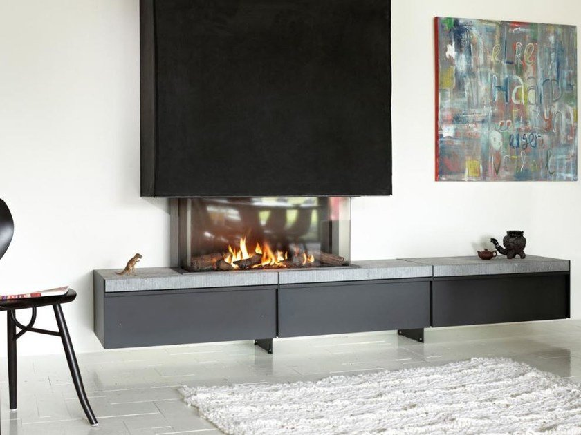 Gas 3-sided fireplace with panoramic glass STÛV B-95 | 3-sided fireplace by Stûv