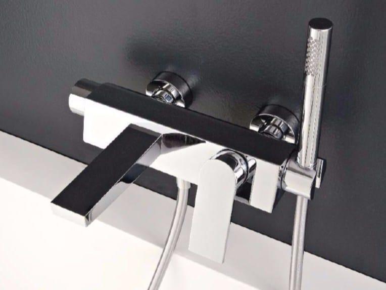 Wall-mounted bathtub mixer with hand shower 100 | Bathtub mixer by ZAZZERI
