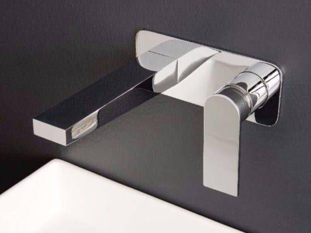 Wall-mounted steel washbasin mixer 100   Wall-mounted washbasin mixer by ZAZZERI