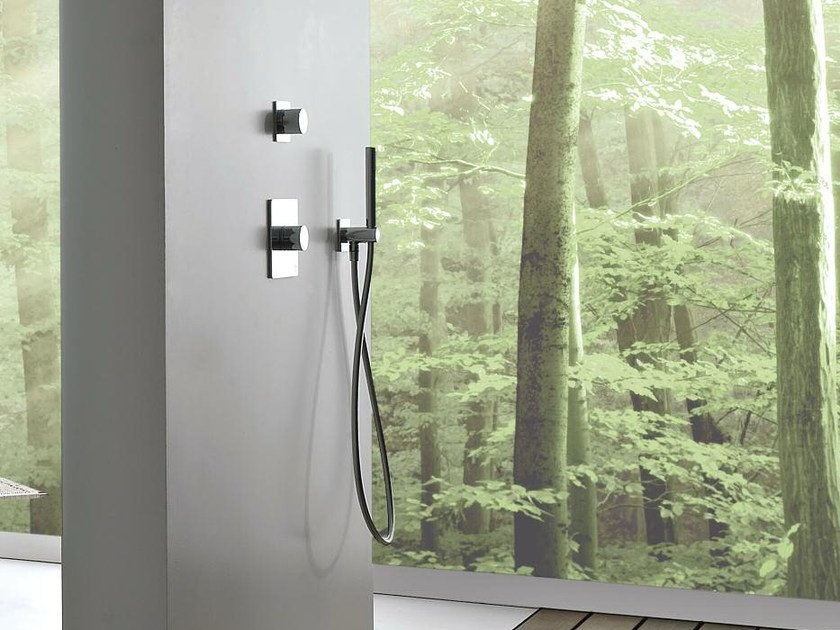Chrome-plated thermostatic shower mixer with hand shower 100   Thermostatic shower mixer by ZAZZERI