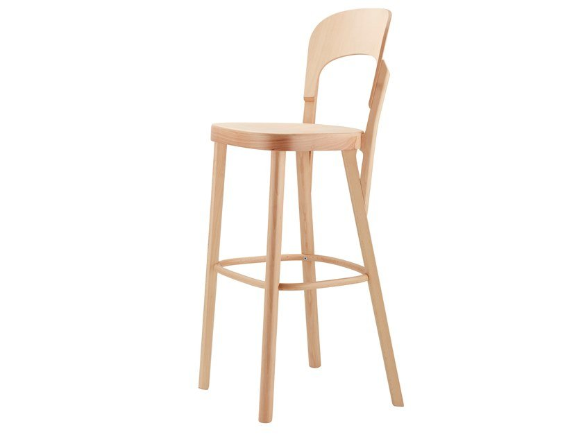 High wooden barstool 107 H by THONET