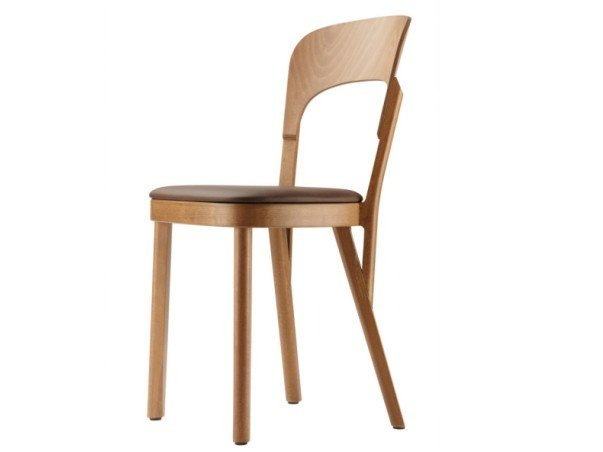 Wooden chair with integrated cushion 107 P by THONET