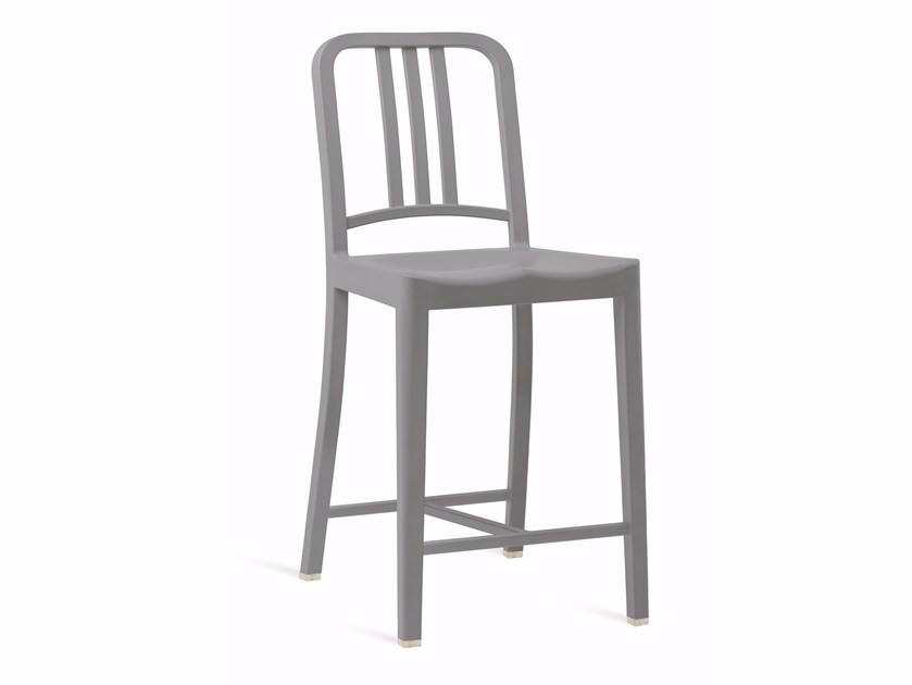 High recycled plastic stool with back 111 NAVY® | High stool by Emeco