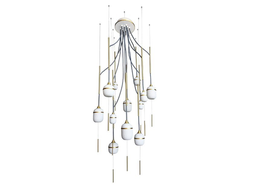 LED porcelain chandelier FLEUR DE KAOLIN 12 by designheure