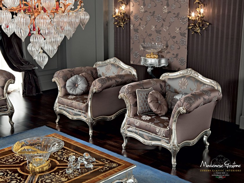 Upholstered fabric armchair with armrests 12413 | Armchair by Modenese Gastone